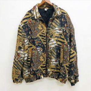 Vintage Versace inspired silk windbreaker jacket